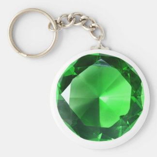 Green Gem Basic Round Button Key Ring