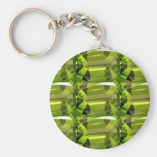 green gem stone key chain