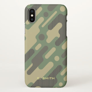 Green Geometric Camouflage. Camo your iPhone X Case