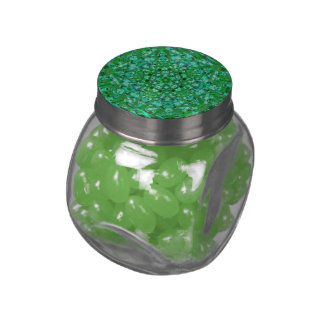 Green Geometric Glass Candy Jar