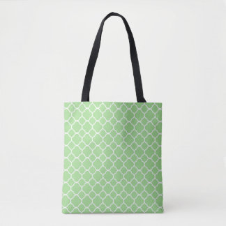 Green Geometric Patterned Tote Bag