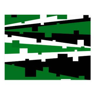 Green Geometric Striped Postcard