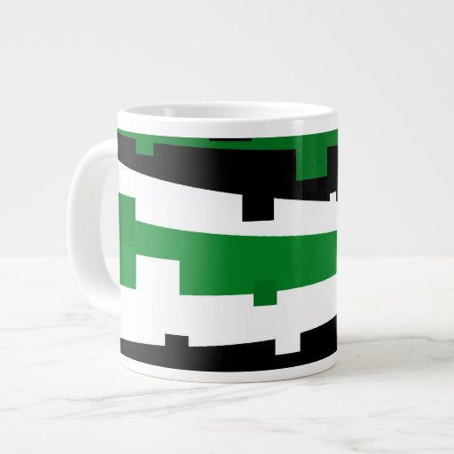 Green Geometric Striped Extra Large Mugs