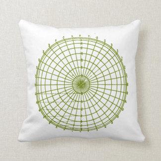 Green Geometric Wheel Throw Pillow
