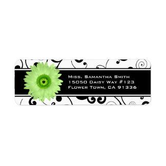 Green Gerbera Daisy Black & White Scroll Return Address Label