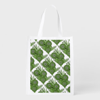 Green Gerbera Daisy Flower Bouquet Reusable Grocery Bag
