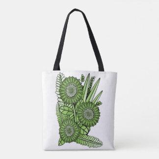 Green Gerbera Daisy Flower Bouquet Tote Bag