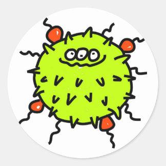 Green Germ Round Sticker
