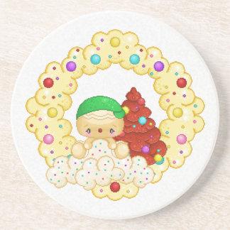 Green Gingerbread Boy Wreath Pixel Art Beverage Coaster