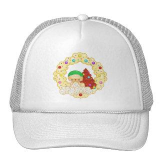 Green Gingerbread Boy Wreath Pixel Art Hat