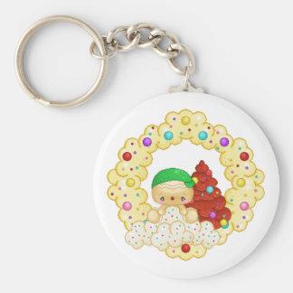 Green Gingerbread Boy Wreath Pixel Art Basic Round Button Key Ring