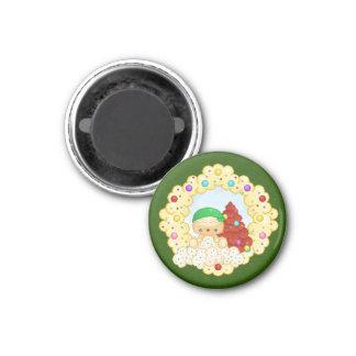 Green Gingerbread Boy Wreath Pixel Art 3 Cm Round Magnet