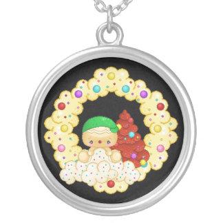 Green Gingerbread Boy Wreath Pixel Art Round Pendant Necklace