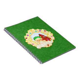 Green Gingerbread Boy Wreath Pixel Art Spiral Note Book