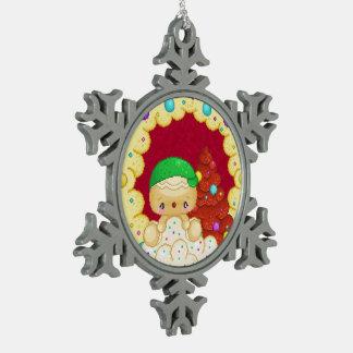 Green Gingerbread Boy Wreath Pixel Art Pewter Snowflake Decoration