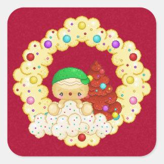 Green Gingerbread Boy Wreath Pixel Art Square Sticker