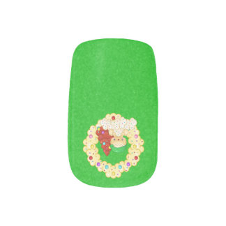 Green Gingerbread Boy Wreath Pixel Nail Wraps