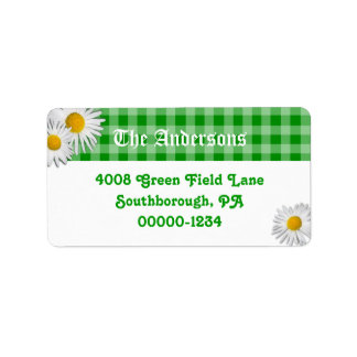 Green Gingham and Daisies Custom Address Labels