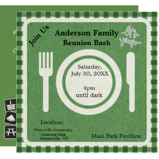 Green Gingham and Pictogram Picnic Invitation