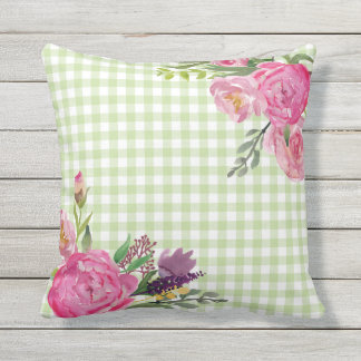 Green Gingham and Pink Peonies Outdoor Pillow