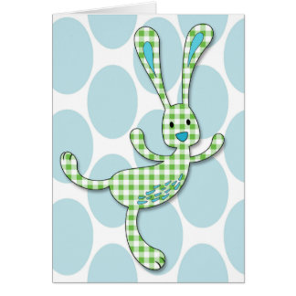 Green Gingham Checked Dancing Bunny with Blue Card