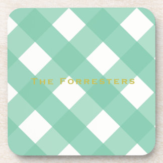 Green Gingham Drink Coasters (6)