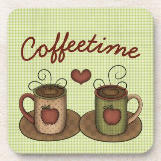 Green Gingham Folkart Coffeetime Coaster