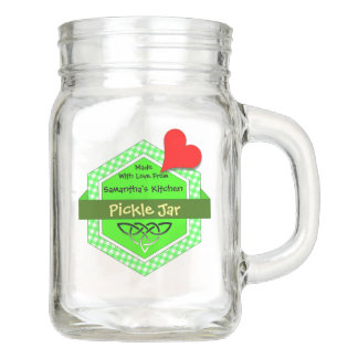Green Gingham Honeycomb Shaped Badge Mason Jar