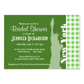 Green Gingham New York; Statue of Liberty 13 Cm X 18 Cm Invitation Card