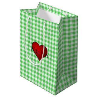 Green Gingham Red heart With Love Medium Gift Bag