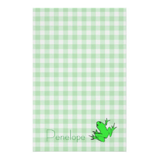 Green Gingham with Tree Frog and Your Name Stationery