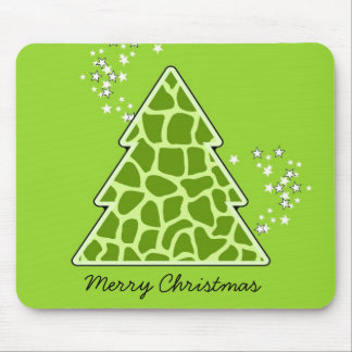 Green giraffe Christmas Tree Mouse Pad