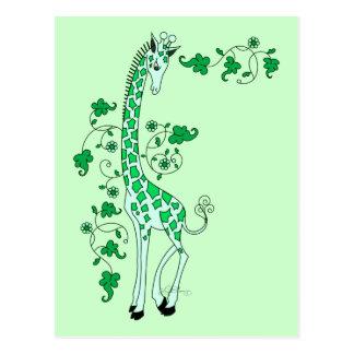 Green Giraffe Postcard