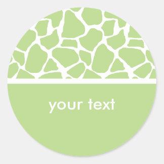 Green Giraffe Print Custom Stickers