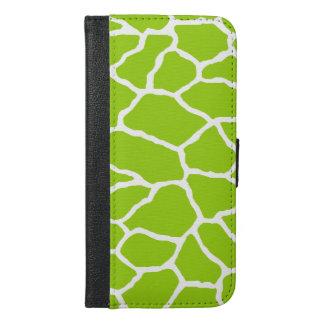 Green Giraffe Print iPhone 6/6s Plus Wallet Case