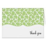 Green Giraffe Print Thank You Notes Note Card