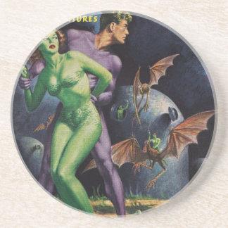 Green Girl vs Duck Bats Sandstone Coaster