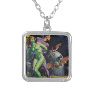 Green Girl vs Duck Bats Silver Plated Necklace