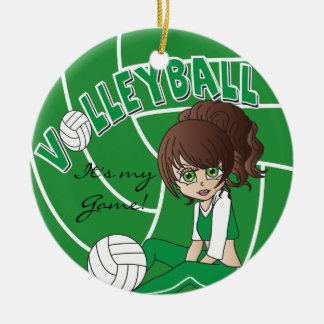 Green Girly Volleyball Christmas Tree Ornament