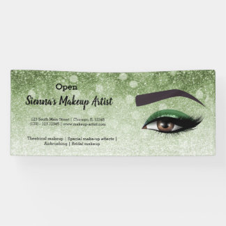 Green glam lashes eyes | makeup artist banner