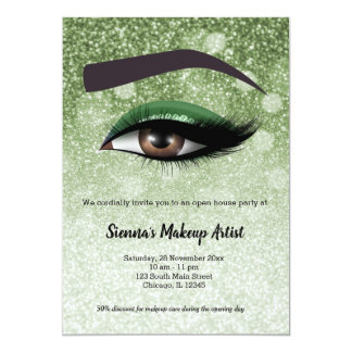 Green  glam lashes eyes | makeup artist card