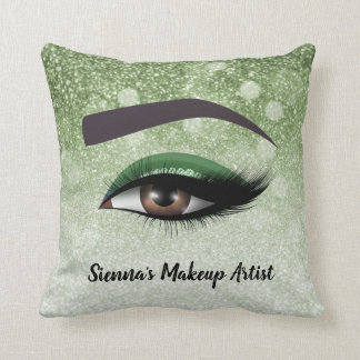 Green glam lashes eyes | makeup artist cushion