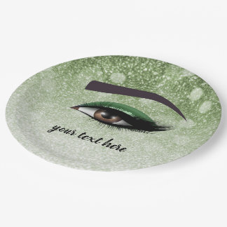 Green glam lashes eyes | makeup artist paper plate