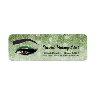 Green glam lashes eyes | makeup artist return address label