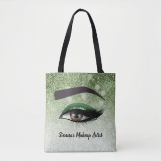 Green glam lashes eyes | makeup artist tote bag