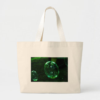 Green Glass Raindrop Large Tote Bag