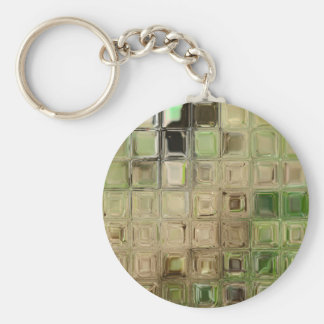 Green glass tiles basic round button key ring
