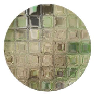 Green glass tiles plate