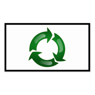 Green Glassy Recycle Symbol Pack Of Standard Business Cards