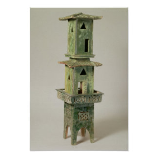 Green glazed model of a tower poster